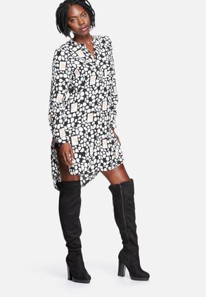 Vero Moda Geo Long Shirt Dress Casual Black