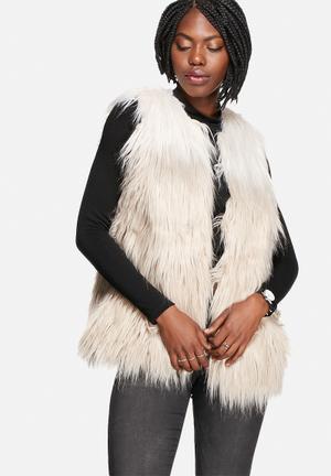 Vero Moda Leva Faux Fur Waistcoat Jackets Oatmeal