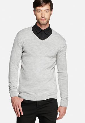 Selected Homme Tower Merino V-Neck Knitwear Light Grey Melange