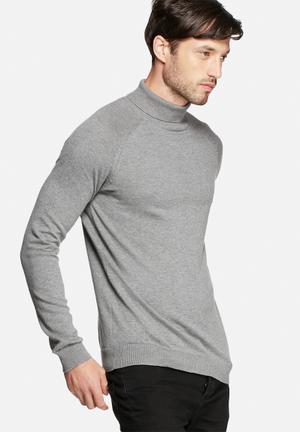 Selected Homme Adam Roll Neck Knitwear Grey Melange