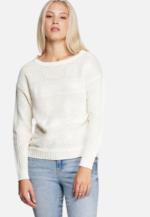 Jacqueline De Yong Gino Sweater Knitwear Cloud Dancer