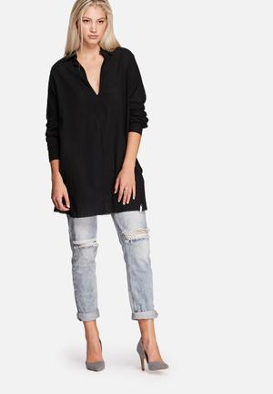 One Teaspoon Le Pure Tunic Top Blouses Black