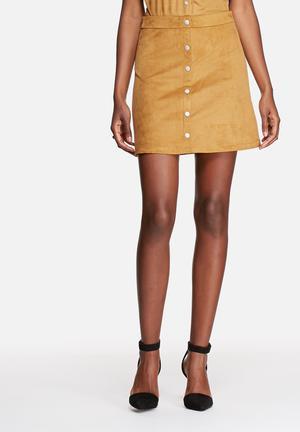 Pieces Coline Faux Suede A-line Skirt Chipmunk