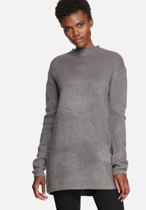 Pieces Gina Long Sweater Knitwear Dark Grey Melange
