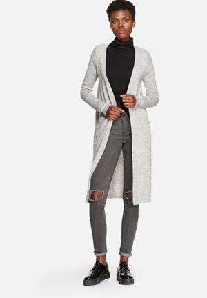 VILA Riva Long Knit Cardigan Knitwear Grey Melange