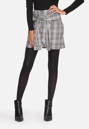 Noisy May Erik Wrap Short Skirt Asphalt