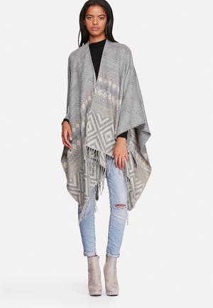 ONLY Safire Weaved Cape Scarves Light Grey Melange
