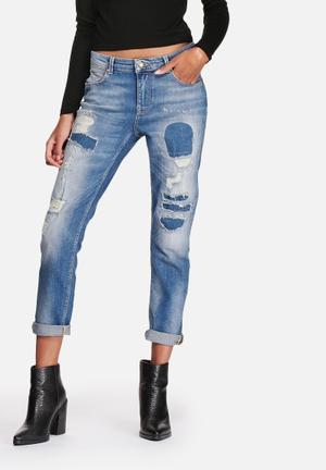 ONLY Gemma Boyfriend Jeans Medium Blue Denim