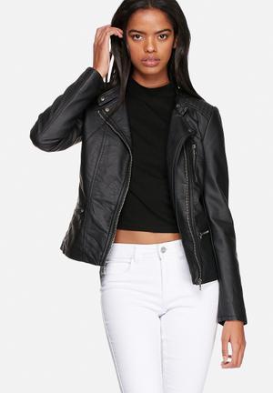 ONLY Freya Faux Leather Biker Jacket Black