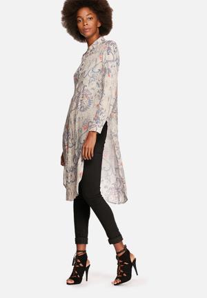 ONLY Radmilla Long Shirt Grey & Blue