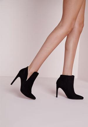 Missguided Asymmetric Ankle Boots Black