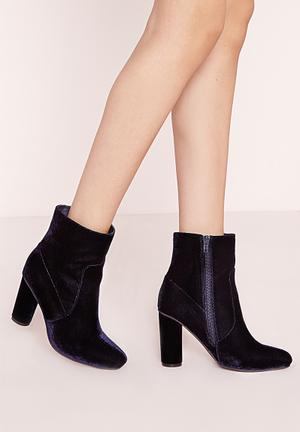 Missguided Velvet Ankle Boots Navy