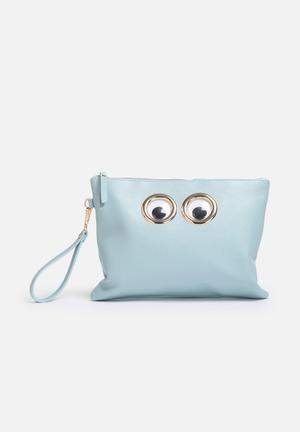 Nila Anthony Google Eyes Clutch Bags & Purses Blue