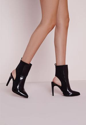 Missguided Cut Out Stiletto Boots Black