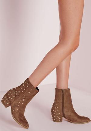 Missguided Star Ankle Boots Tan