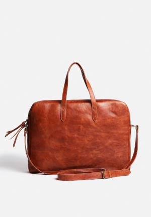 FSP Collection Anna Leather Briefcase Bags & Purses Cognac