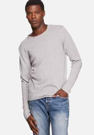 Jack & Jones Premium Linen Knit Knitwear Grey Melange