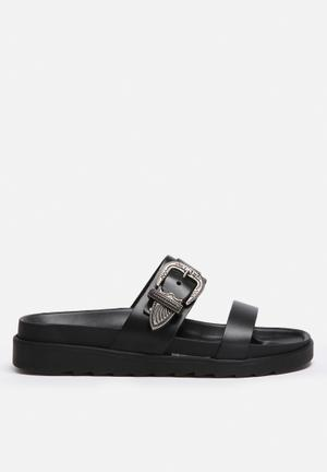 Vero Moda Shine Leather Sandal Black