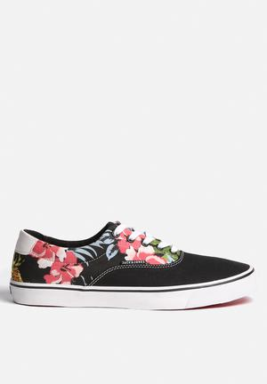 Jack & Jones Footwear & Accessories Surf Canvas Print Low Sneaker Anthracite