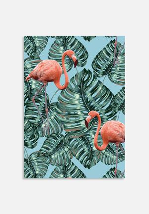 83 Oranges Whimsical Flamingo Pattern Art