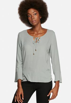 ONLY Taffy Bell-sleeve Top Blouses Grey