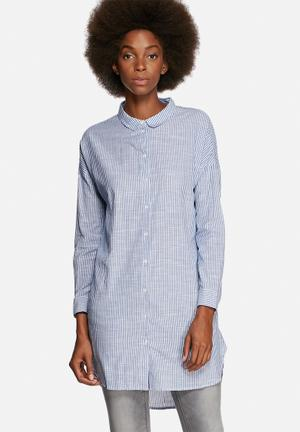 ONLY Macro Long Shirt White With Blue Stripes