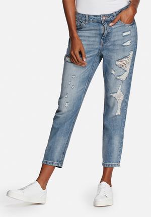 ONLY Tonni Distressed Boyfriend Denim Jeans Medium Denim Blue