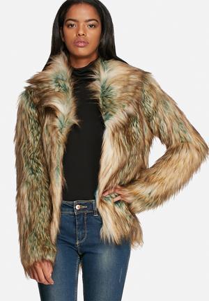 Noisy May Foxy Faux Fur Jacket Tobacco Brown & Green