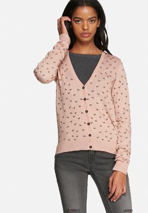 Jacqueline De Yong Bear Cardigan Knitwear Dusty Pink