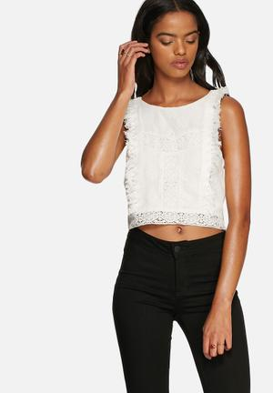 MINKPINK Young Empire Lace Crop Top Blouses Off White