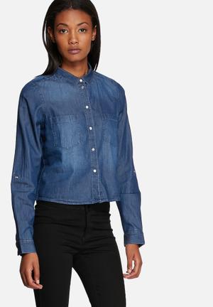 ONLY Always Cropped Shirt Dark Blue