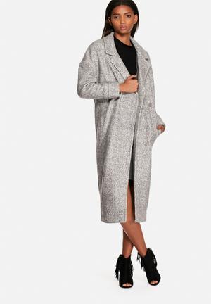Neon Rose Blanket Cocoon Coat Grey