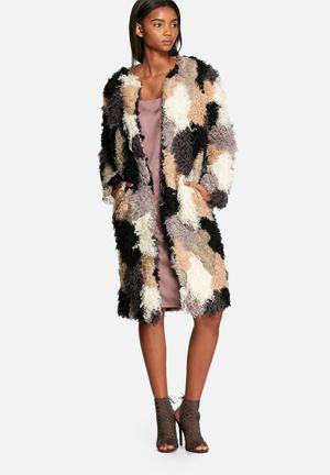 Neon Rose Patchwork Shearling Coat Multi