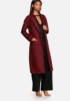 Neon Rose Belted Robe Coat Burgundy