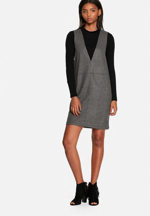 Neon Rose Wool Cocoon Dress Casual Grey