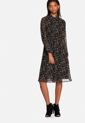 Neon Rose Floral Folk Midi Shirt Dress Casual Black Multi