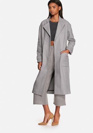 Neon Rose Belted Robe Coat Grey