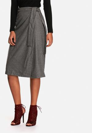 Neon Rose Wool Tie Waist Midi Skirt Grey