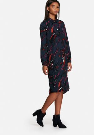 Neon Rose Volcanic Shirt Dress Casual Navy Multi