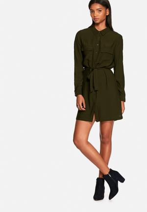 Neon Rose Utility Shirt Dress Casual Khaki