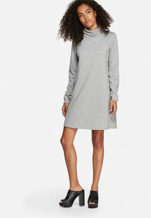 Dailyfriday Chev Polo Neck Dress Casual Grey Melange