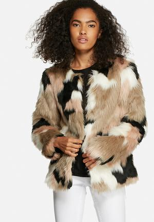 Vero Moda Clea Short Faux Fur Jacket Beige Multi