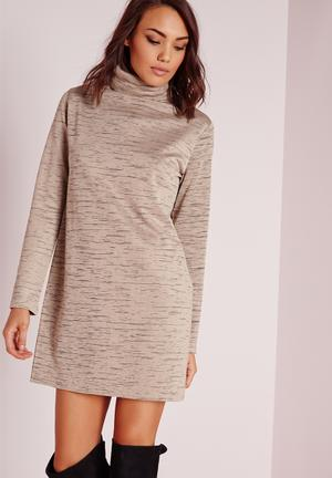 Missguided Long Sleeve Roll Neck Oversized Dress Casual Stone Marl