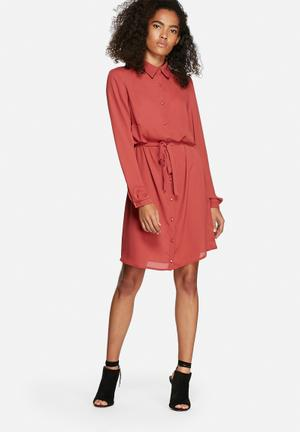 Dailyfriday Chane Shirt Dress Formal Red