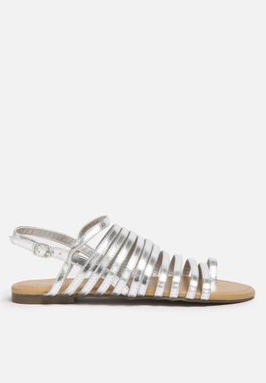 Qupid Jenga Sandals & Flip Flops Silver