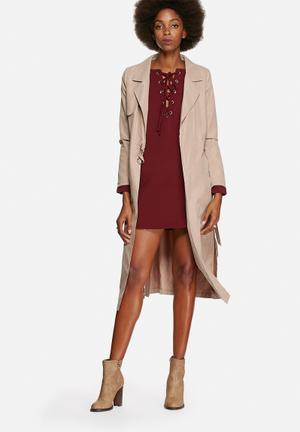 Lola May Double Belted Trench Coat Stone
