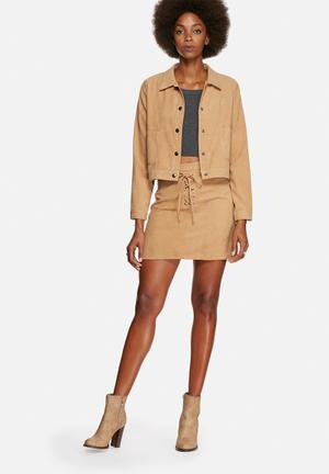 Faux suede lace up co-ord