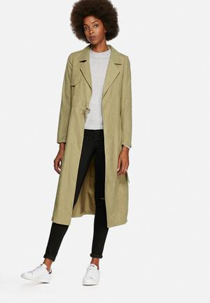Lola May Double Belted Trench Coat Green