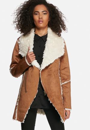 Influence. Contrast Coat Tan