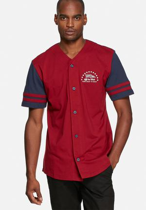 Vans Slider T-Shirts & Vests Maroon & Navy